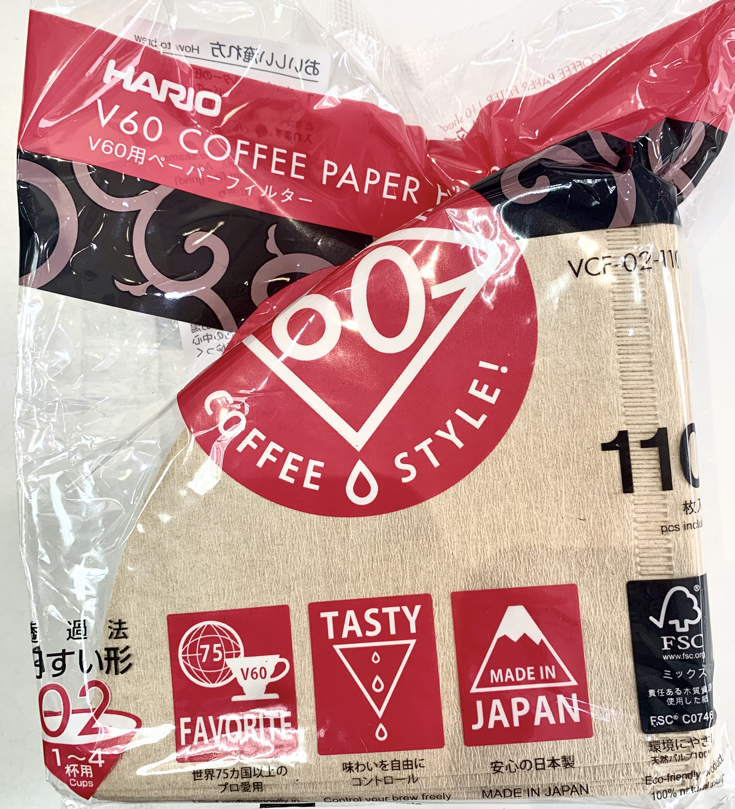日本Hario 無漂白濾紙2-4人份1